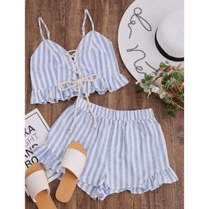 Lace Up Smocked Cami & Frill Shorts Co-Ord